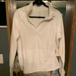 St. John's Bay white fleece pullover NWT